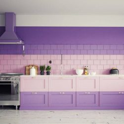 cuisine aubergine et gris